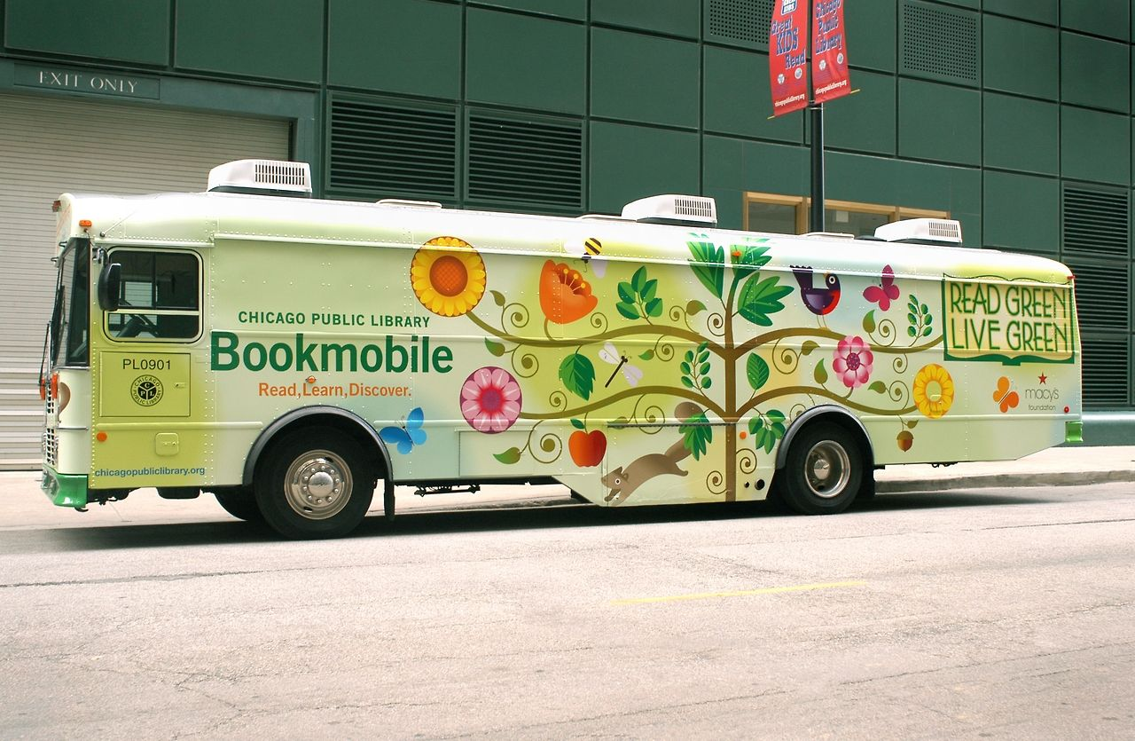 chicagopubliclibrary:  CPL Bookmobile! Our Bookmobile is up and running at 5151N. Kimball Avenue (in the parking lot at North Park University) while the new Albany Park Branch is being built. Pick up your holds and check out our collection of books for all ages. Check our website for hours of service. http://www.chipublib.org/branch/details/library/bookmobile/