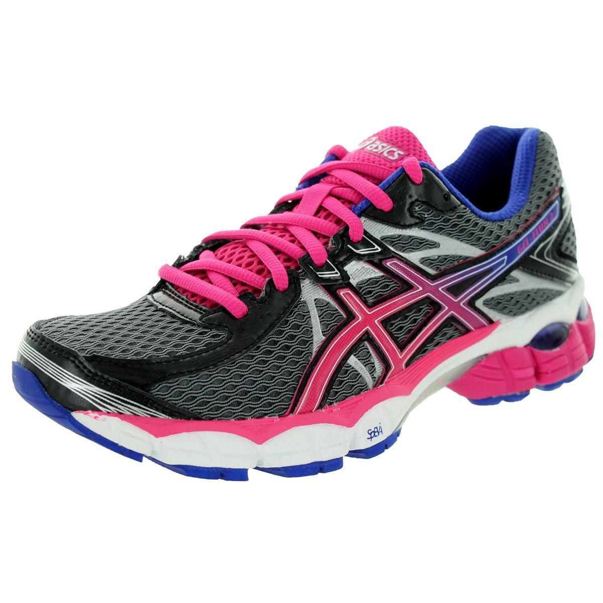 a14ab66d3 Asics Women s Gel-Flux 2 Onyx Hot Pink Blue Running Shoe