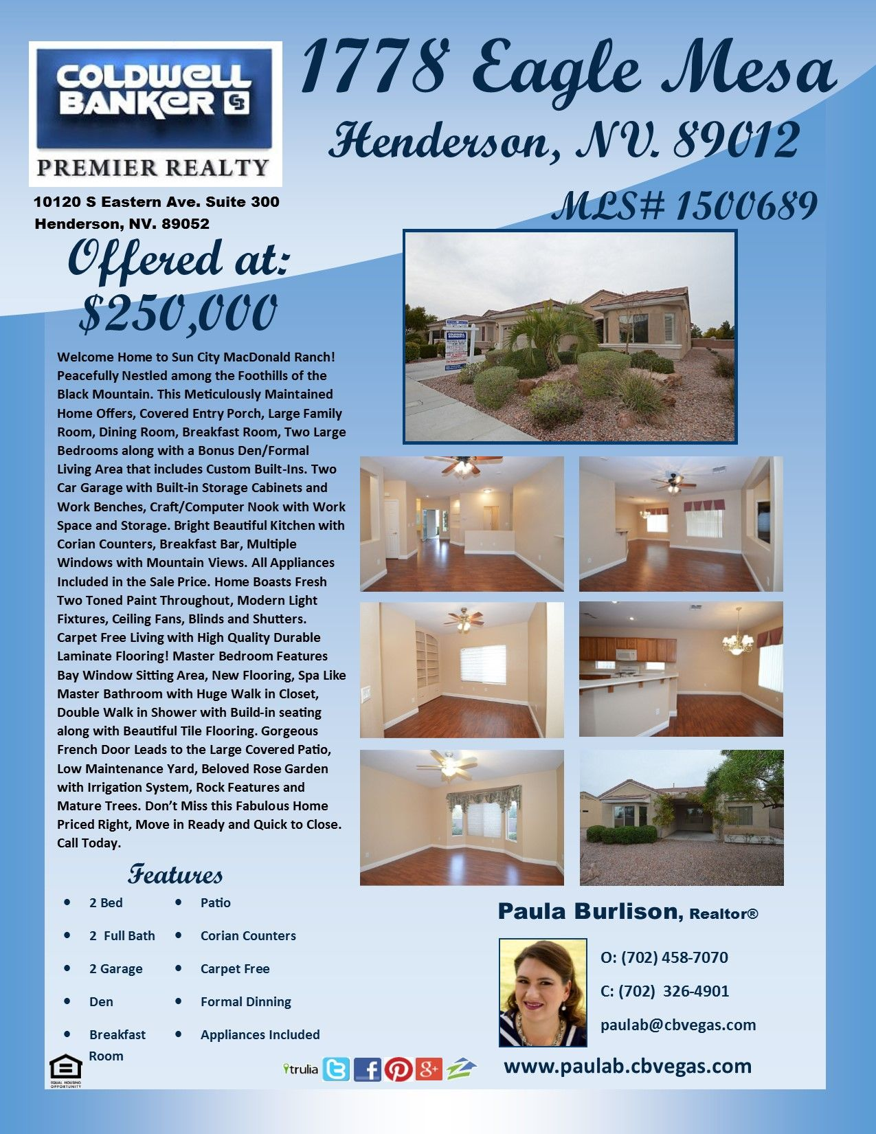 Stunning 55+ Home w/2 Large Bed + Den w/Built-Ins. Family & Dining Room, B-Fast Room, 2 Car Garage w/Storage Closets. Craft Nook, Kitchen w/Corian, Breakfast Bar, Appliances Included. Fresh Paint, Custom Blinds & Shutters. Carpet Free w/Durable Laminate. Master has Sitting Area, Bath w/Walk in Closet, Double Shower & Great Tile. Yard is Low Maintenance w/Rose Garden, Trees. Move in Ready, Priced Right, Quick to Close!!