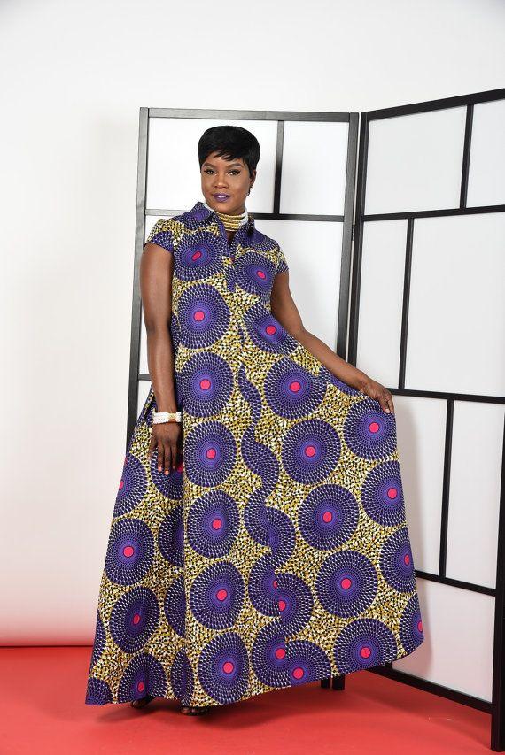 Purple-Kaftan Maxi Dress | Africanos, Trajes africanos y Vestido ...