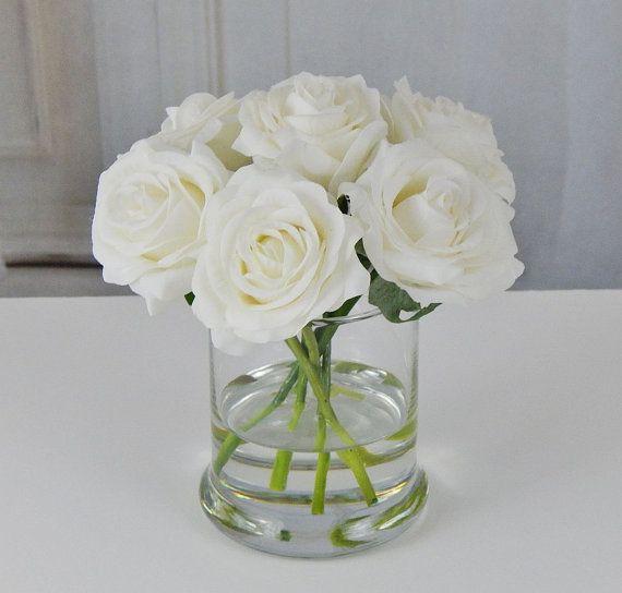 White Roseroses Glass Vase Faux Water Acrylic Illusion Silk