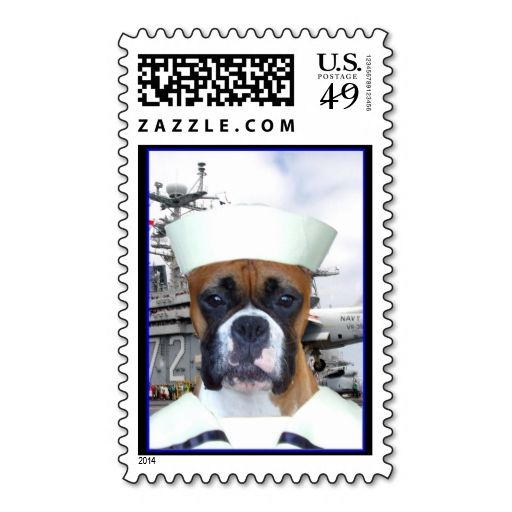 Navy Sailor Boxer Dog Stamp. This is a fully customizable business card and available on several paper types for your needs. You can upload your own image or use the image as is. Just click this template to get started!