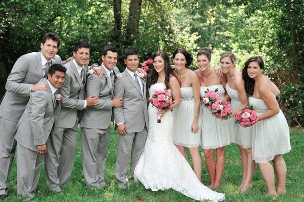 Pale Pink Bridesmaid Dresses Gray Groomsmen