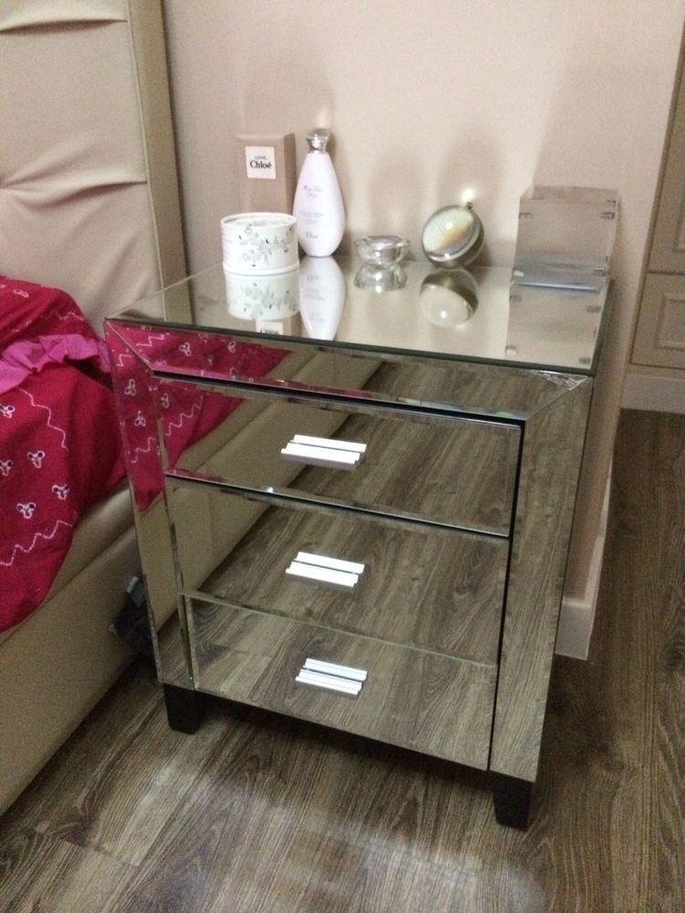 Glam Hollywood Regency Glass Mirror Mirrored Nightstand