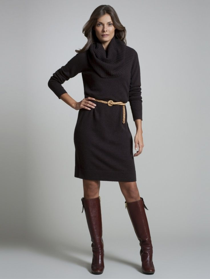 Belted Cowl Neck Sweater Dress And Boots Sweater Dressing In 2019