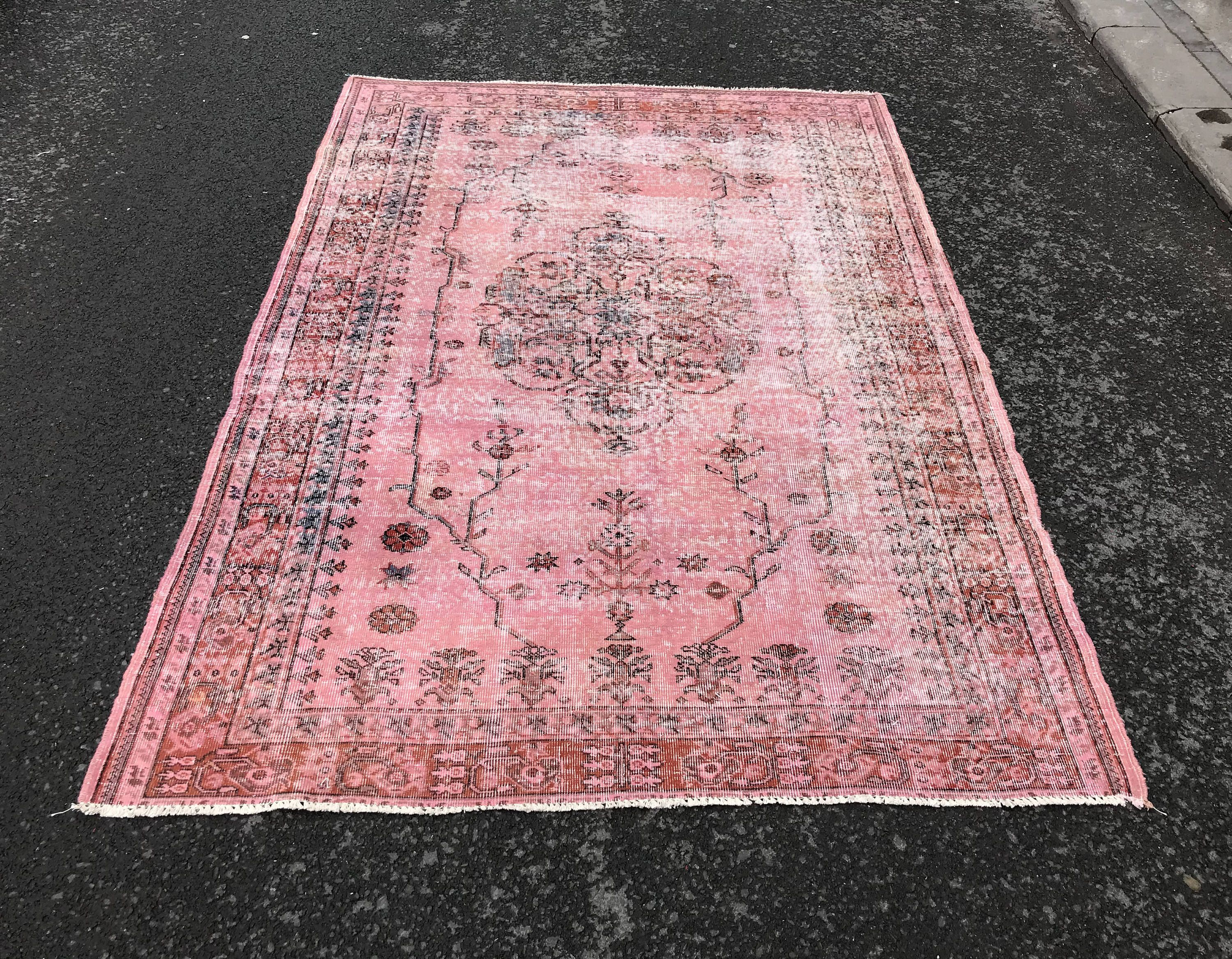 Vintage Rug With Unique Flower Patterns Pink Rug Oushak Rug