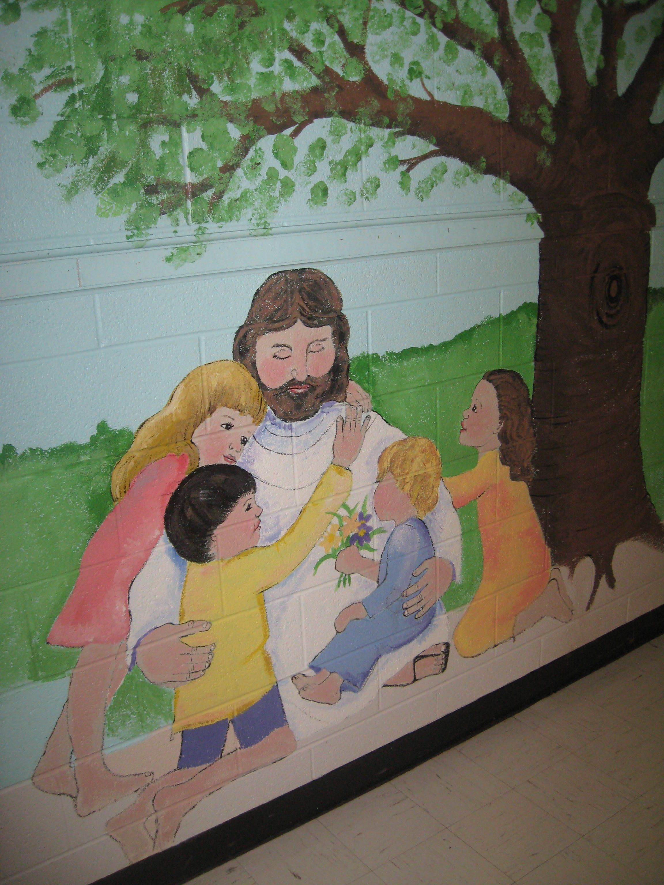 Church mural murals pinterest churches sunday for Church nursery mural
