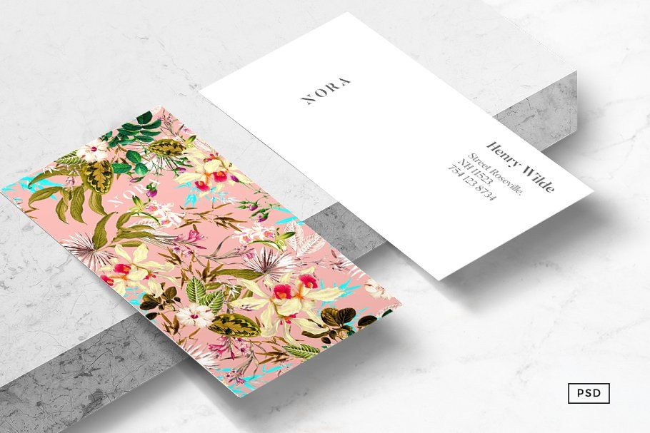 Nora Floral Business Card Template Floral Business Cards Business Card Template Card Template
