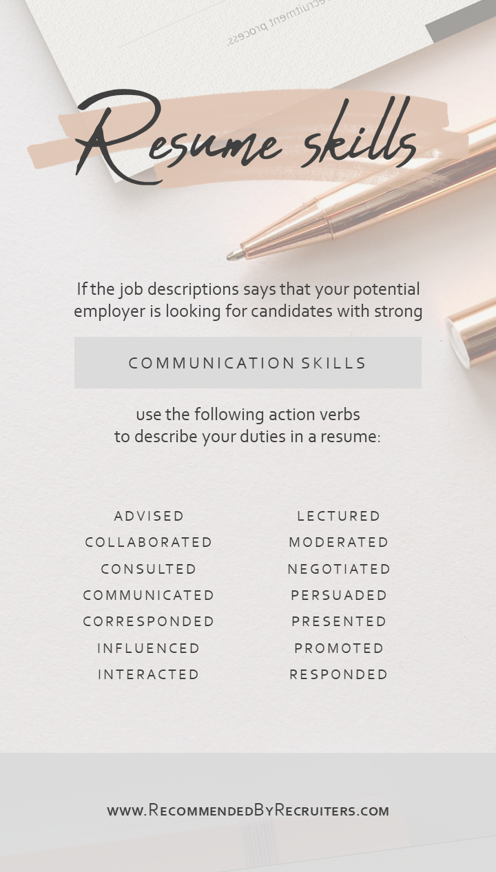 Communication Skills In A Resume Communicating Action Verbs For Your Cv Resume Power Words Resume Power Words Resume Skills Resume Writing Tips