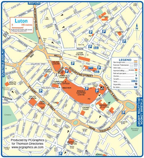 map of luton created in 2011 for thomson directories one of approximately 350 uk town