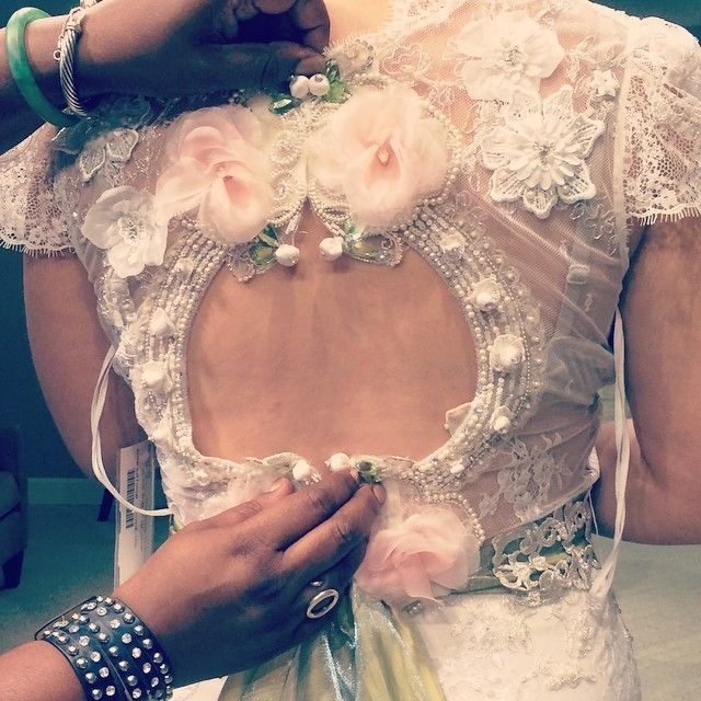 Real Bride trying on the Claire Pettibone 'Beauty' wedding dress at The Dress Theory (Nashville, TN) http://www.clairepettibone.com/beauty