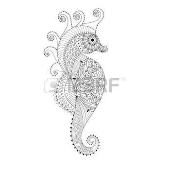 zentangle: Dibujado a mano del caballo de mar para colorear páginas ...