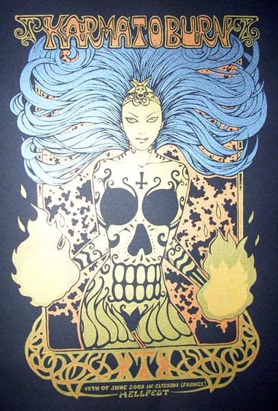 """#Malleus: """"Karma to burn - Live@Hellfest - 2009"""" Run: 195. Technique: 3 colors handmade silkscreen on heavy black paper. Size: cm 50x70. Markings: Signed Numbered. €40.00"""