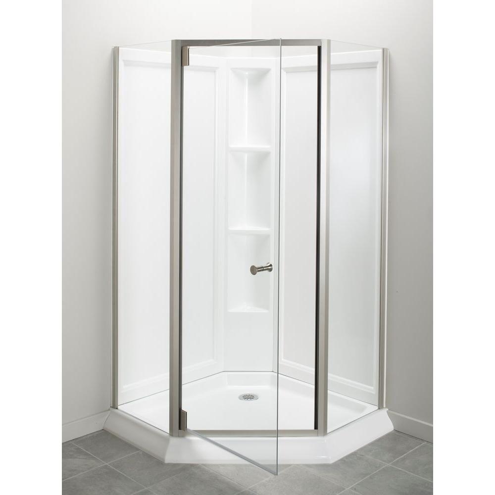 Sterling Solitaire Economy 42 In X 29 7 16 In X 78 1 4 In Corner Shower Kit With Shower Door In White Nickel Corner Shower Kits Shower Kits Shower Doors