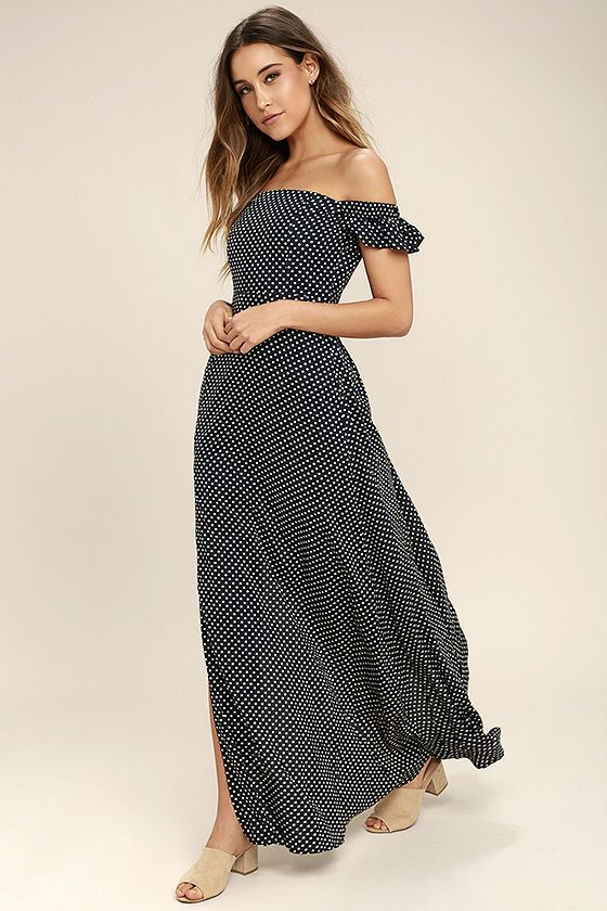 10c70909bcf The Dream Love Navy Blue Polka Dot Off-the-Shoulder Maxi Dress has captured  our hearts! Lightweight