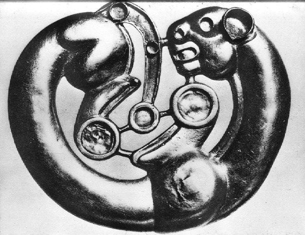 Scythian materials ancient brooch - bet that this held jewels, don't you?