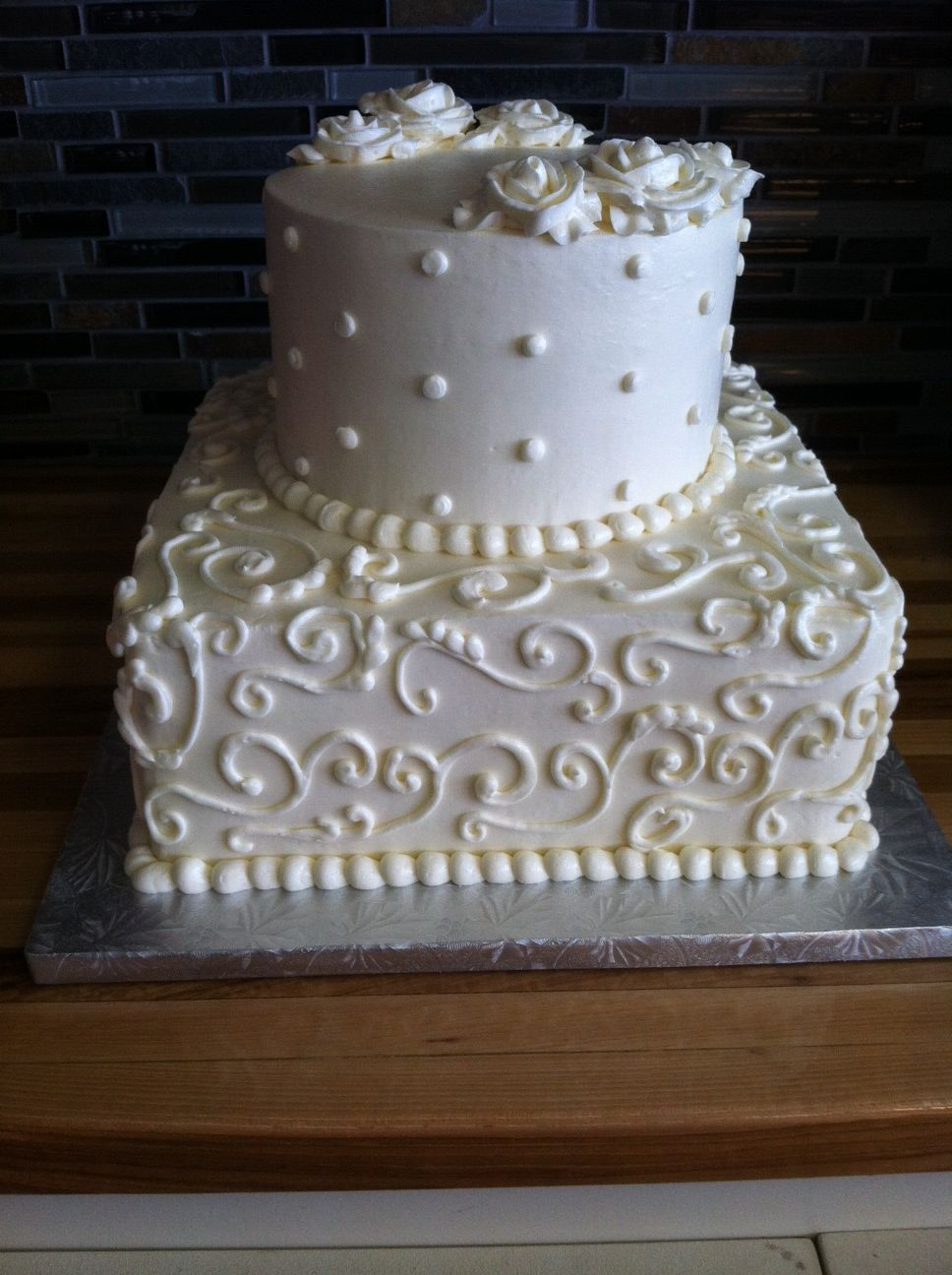 two tier square and round wedding cake | Wedding Cakes | Pinterest ...