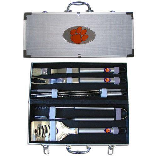 Clemson Tigers 8 pc Stainless Steel BBQ Set w/Metal Case