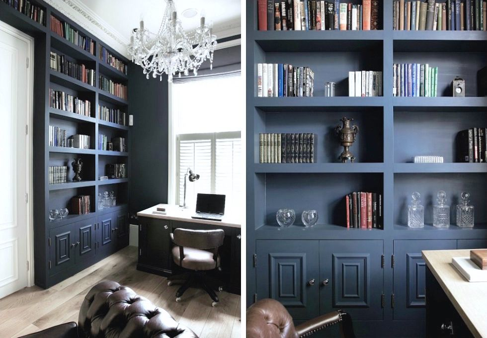 Navy Shelving Home Dark Blue Walls Bookshelves Built In
