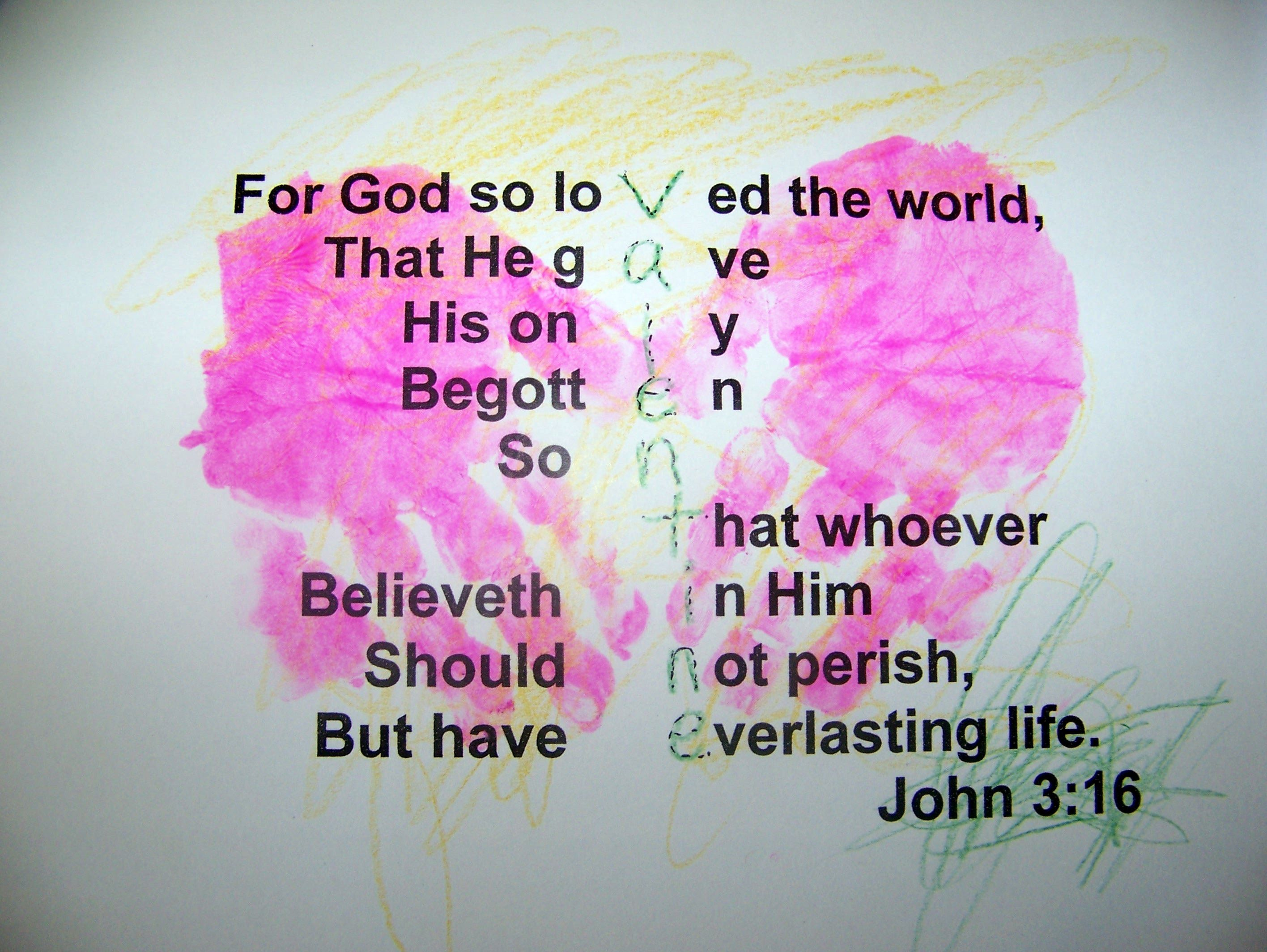 John 3 16 Valentines Made Today With Hand Print Hearts