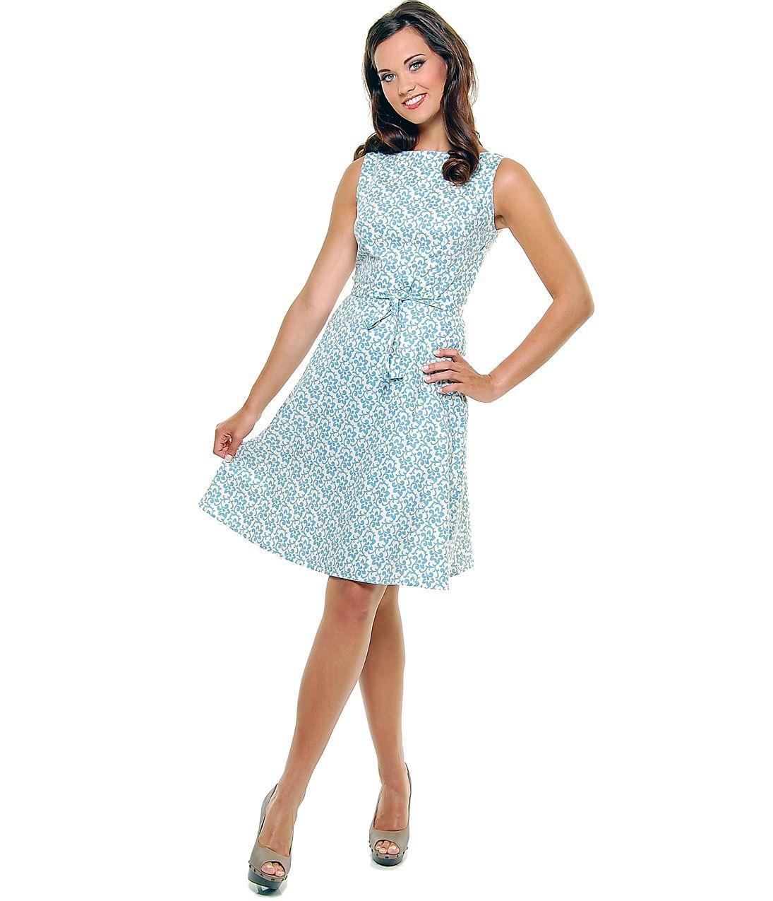 1950\'s Style Heartbreaker Blue Trellis Print Monique Swing Dress ...