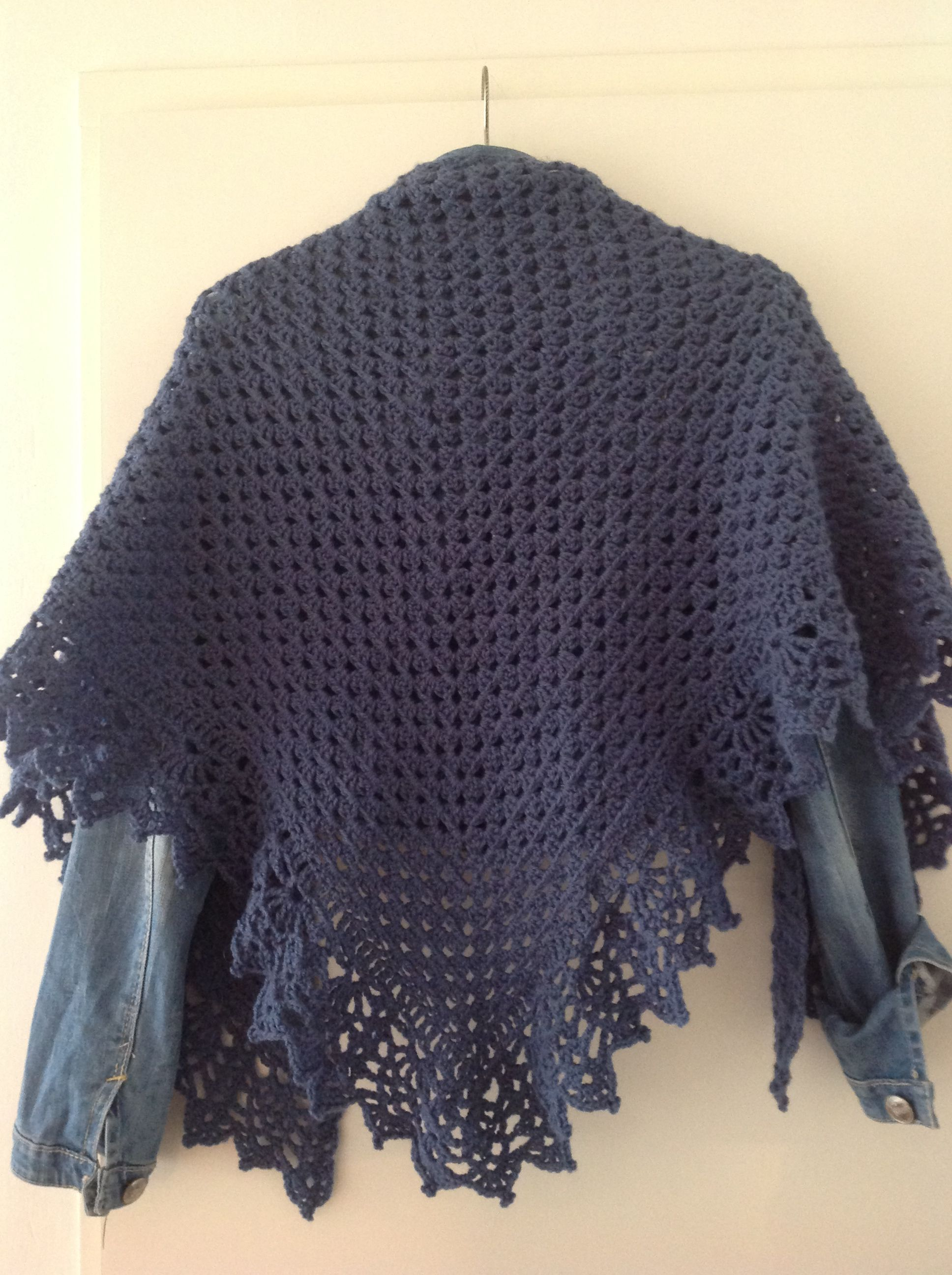 Half granny square shawl with all shawl edging.