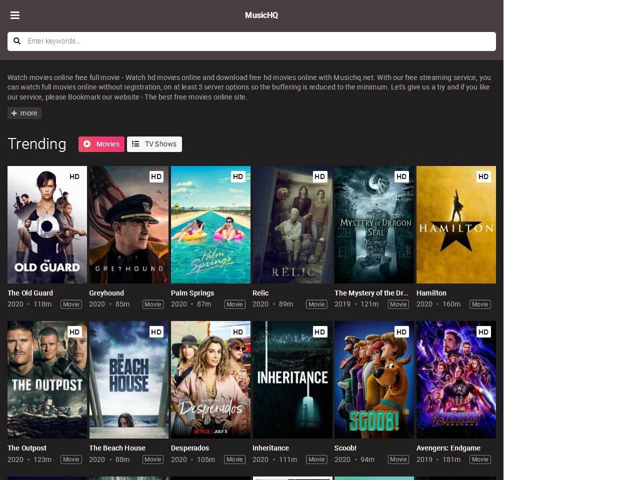 MusicHQ in 2020 Free hd movies online, Hd movies online