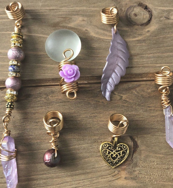 Copper Dread Spiral hippie Dread Bead Rainbow Beads,Titanium Quartz Peacock Beads Bohemian Bead heatherfishcreations Dread Jewelry