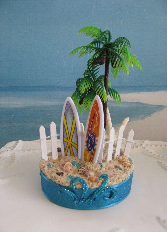 Surfboard Palm Tree Beach Wedding Cake Topper~~by ...