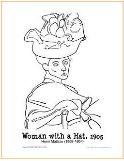 Woman with a Hat Matisse Free Coloring Page http
