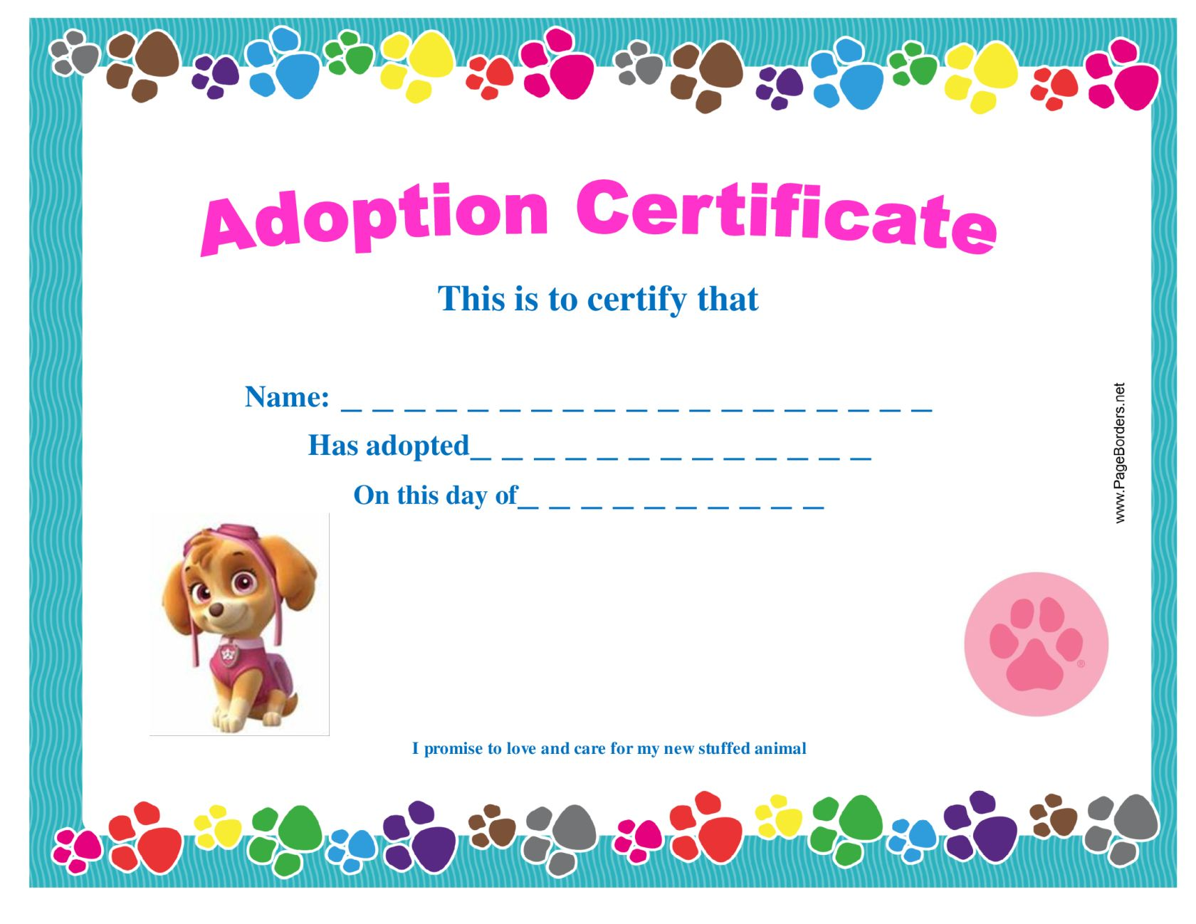 Paw patrol adopt a pup party convites adoption certificate for adopt a pup paw patrol party on a budget ideas and xflitez Gallery