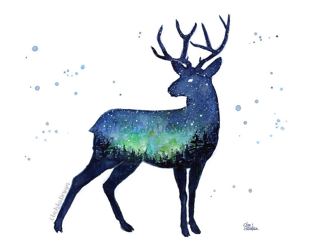 Reindeer Forest Galaxy Watercolor Animal Silhouette Painting