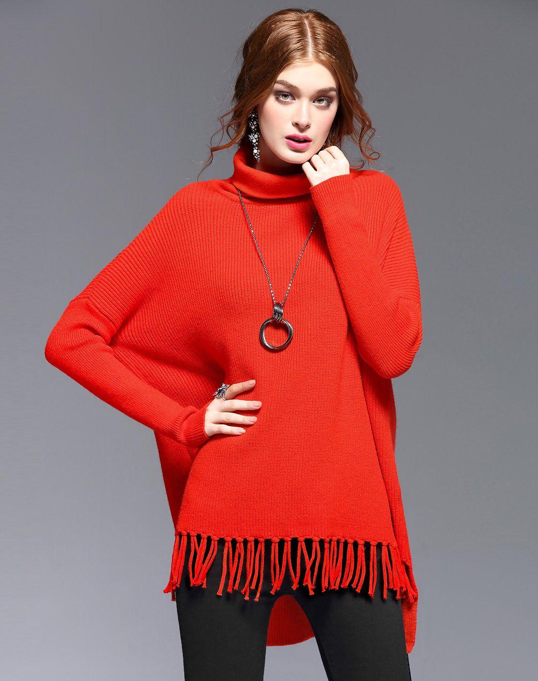 AdoreWe #VIPme Sweaters & Cardigans - DAIPYA Orange Red Batwing ...
