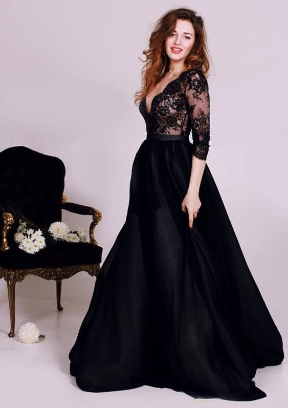 2017 New Year Party Dresses Classic Black Evening Gown with 3 4 Sleeves V  Neck Lace Bodice Chiffon Prom Dresses d9c29669a3ab