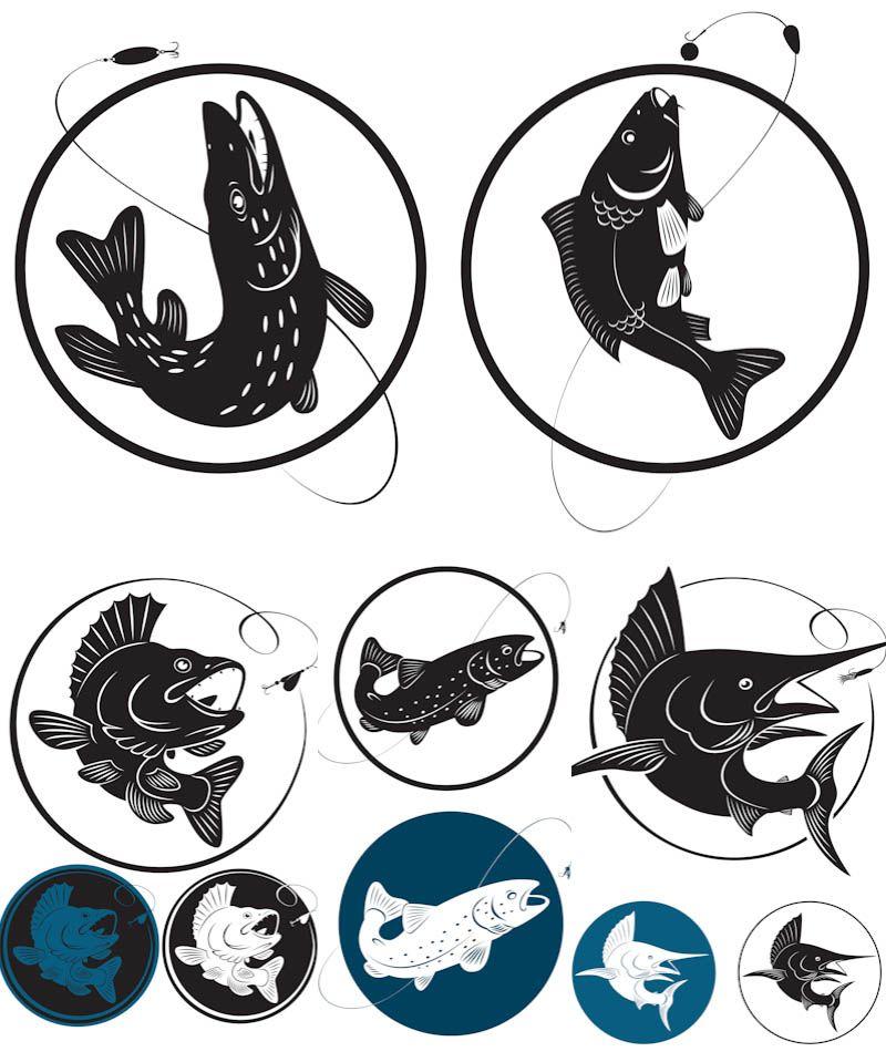 Fishing logo vector Животное трафарет, Рыбалка, Трафареты