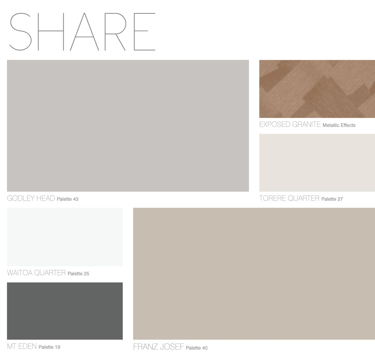 Dulux Most Popular Grey Paint Colours: SHARE Palette From Dulux Colour Forecast 2013