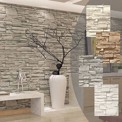 3d Brick Effect Wallpaper Stone Pattern Vinyl Home Decoration Kitchen Office Bar