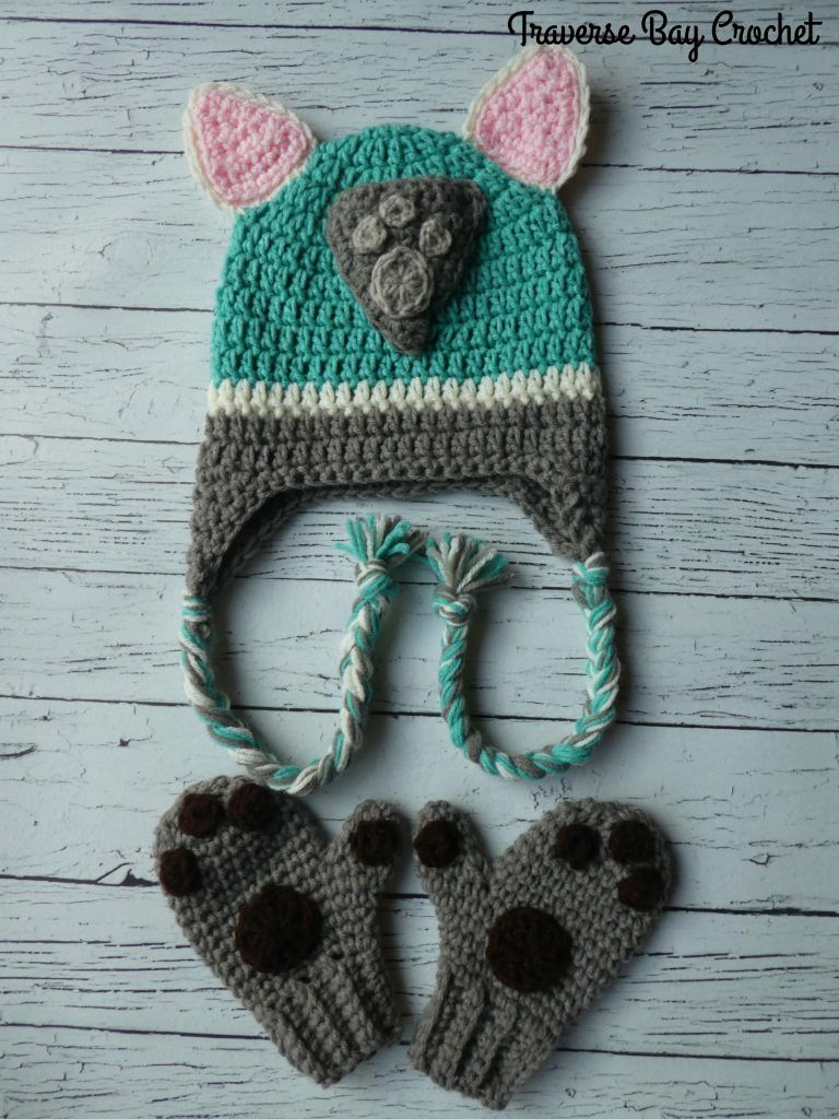 Everest Paw Patrol Crochet Hat & Mitten Set - Crochet hat pattern, Crochet character hats, Crochet paw patrol hat, Crochet hats, Crochet animal hats, Crochet baby mittens - Create this super cute crochet Everest hat and mitten set from Paw Patrol  Very cute and easy to follow free crochet pattern!