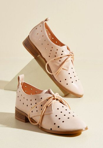 Bring new enlightenment to your wardrobe by sporting these pink Oxfords! Crafted with faux-leather uppers and given extra pizzazz from circular perforations and leather-stacked heels, this ModCloth-exclusive pair offers your ensemble a breath of fresh style everywhere they're worn.