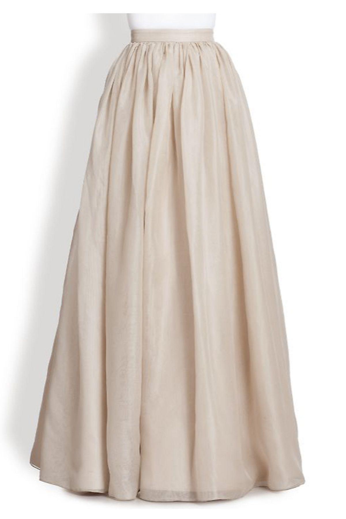e928887cc9111 Plus Size Ivory Chiffon Off White Flowing Maxi Skirt