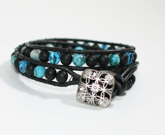 Wrapped Bracelet with Turquoise Jasper  Glass by DESIGNBYSTARLA, $35.00