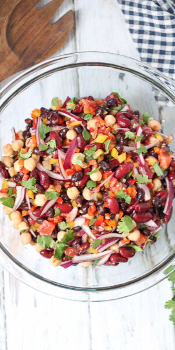 Three Bean Salad With Cilantro Salsa Dressing In 2020 Recipes With Kidney Beans Healthy Salad Recipes Cilantro Salsa