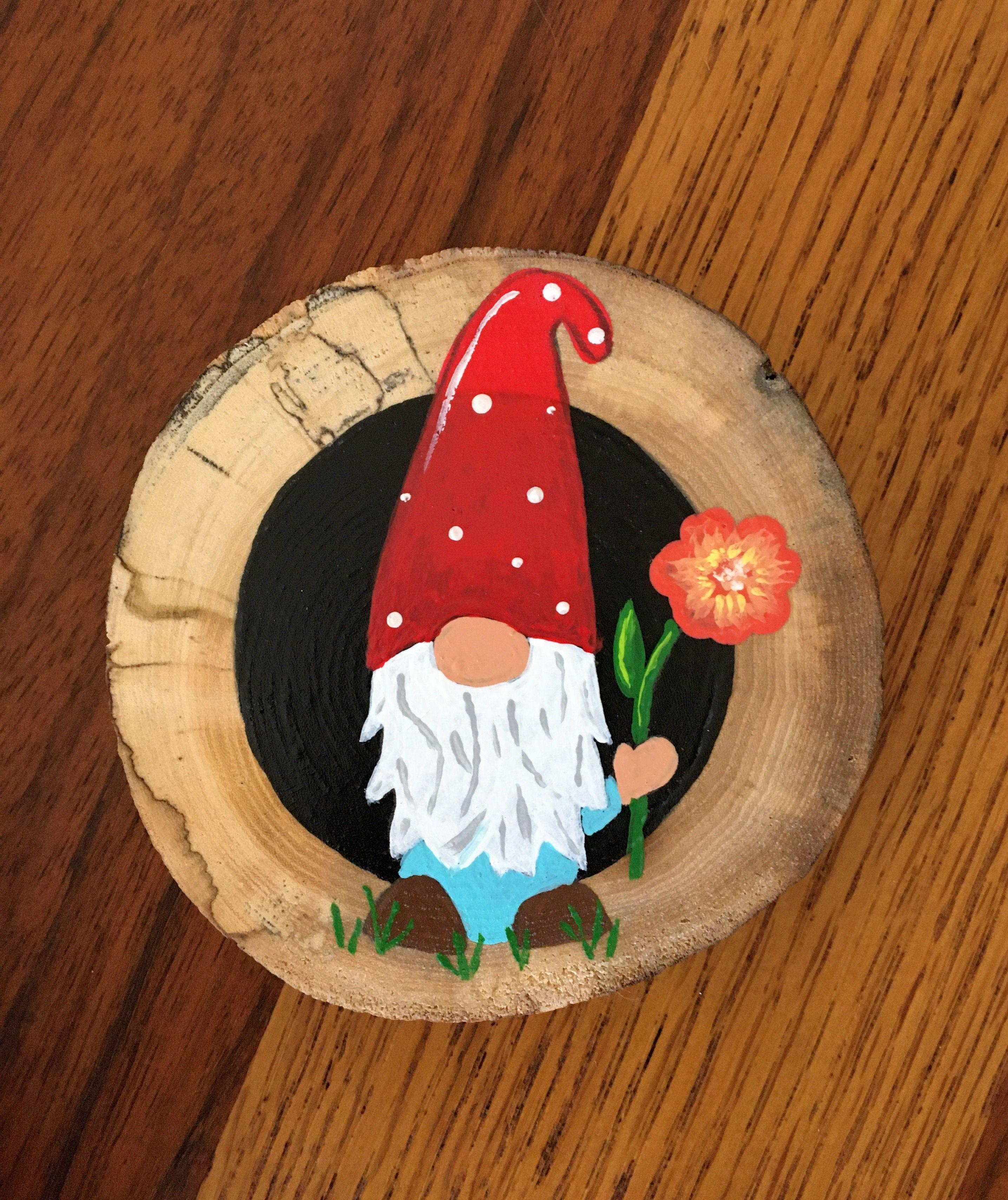 Gnome On Slice Of 3 Elm Wood Circle Wood Slice Crafts Jute Crafts Wood Circles