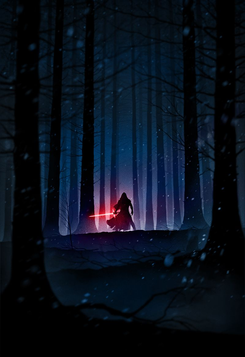 Cool Art The Force Awakens' Rey, Kylo Ren and Finn by