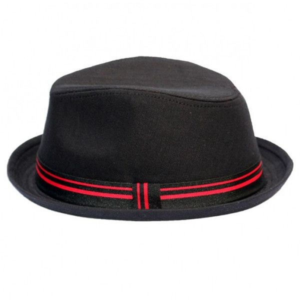 22de274f50e8f Black Fedora with Black-Red Band ❤ liked on Polyvore featuring accessories