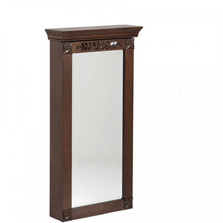 Wall Mount Jewelry Armoire Espresso Finish Beveled Mirror Locking