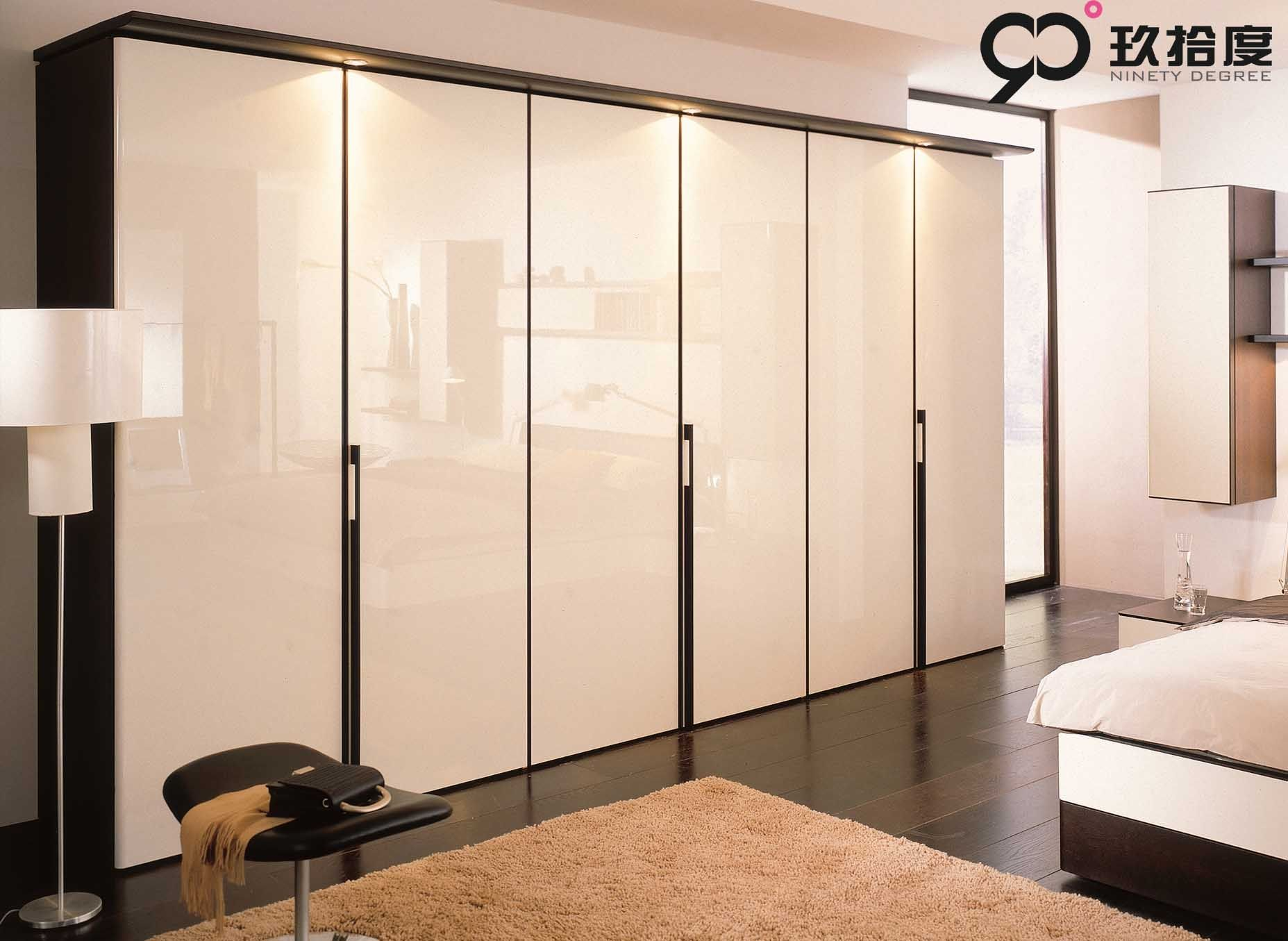 Bedroom lavish white high gloss wardrobe design polished for Contemporary wardrobe designs india