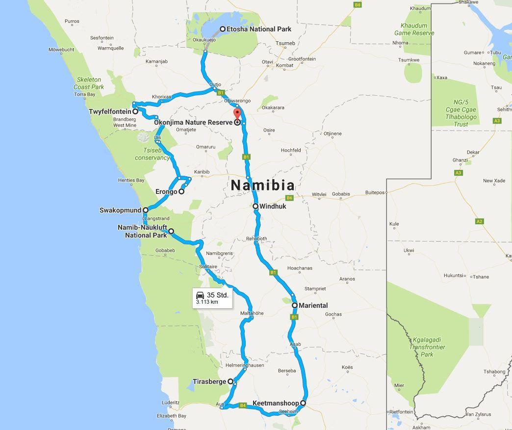 Namibia Reiseroute für 3 Wochen - alle Tipps für Namibia ...