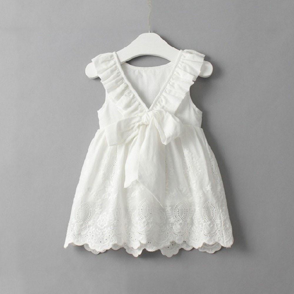 Toddler Kids Baby Girls Princess Party Clothes Big Bow Sleeveless Tutu Dresses Girls Dresses Summer Girls White Dress Girls Lace Dress [ 1000 x 1000 Pixel ]