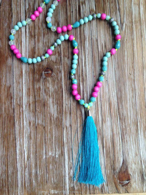 Mala collar de jade Amazonita madera acrílico y por LinkandBikini